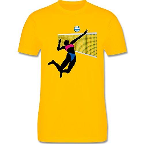 Volleyball - Beachvolleyballspielerin Netz Ball - Herren Premium T-Shirt Gelb