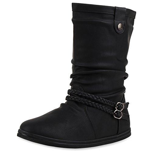 SCARPE VITA Damen Stiefeletten Bequeme Schlupfstiefel Flache Übergangs-Schuhe 160433 Schwarz Schnallen Gefüttert 37