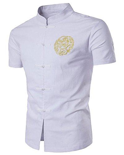 Freizeithemd Kurzarm Herren Embroidery Hemd Slim Fit Shirts Weiß