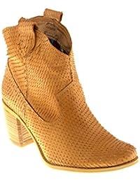 Felmini Zapatos Para Mujer - Enamorarse com Vegas 7487 - Botas Cowboy & Biker - Cuero Genuino - Marrón
