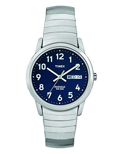 322d39f5e776 Timex Men s T20031 Quartz Easy Reader Watch with Blue Dial Analogue Display  and Silver Stainless Steel