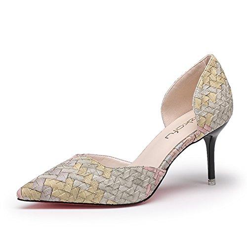 Signora autunno punta con tacco alto/singoli pattini/Scarpe a spillo femminile/Scarpe con cavità-B Lunghezza piede=21.8CM(8.6Inch)