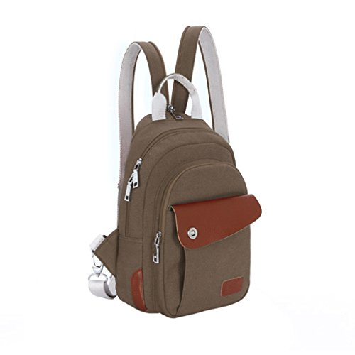 Lifebe BG Cool Multifunction Unisex Men Women Small Backpack Shoulder Bag Cross-body Messenger Bag Handbag Tote (Coffee)
