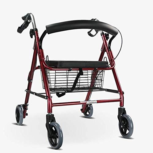 Ultraleichter Klappbarer Hemi-Rollator Aus Aluminium Mit Gepolstertem Sitz, Korb Und Verstellbarer Griffhöhe, Mobiler Gehwagen (Rot)