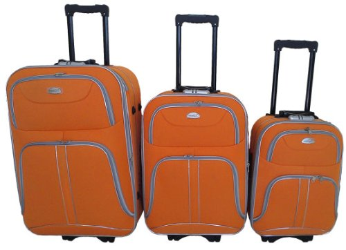 3-tlg. REISEKOFFERSET KOFFERSET TROLLEY TROLLY REISESET KOFFER STOFF ORANGE