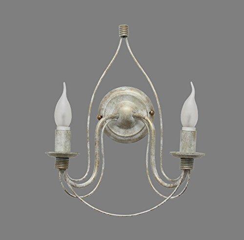 Made in Italy VALFB34132 AP2 BO Lisette Applique lampada a parete in ferro battuto Bianco/Oro Illuminazione da e per interni soggiorno salotto camera letto Prodotto in Italia da Valastro Lighting