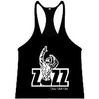 Oficial ZYZZ Singlet Camiseta de tirantes Stringer chaleco para espalda cruzada y-Back Veni Vidi Vici, Negro y blanco, large