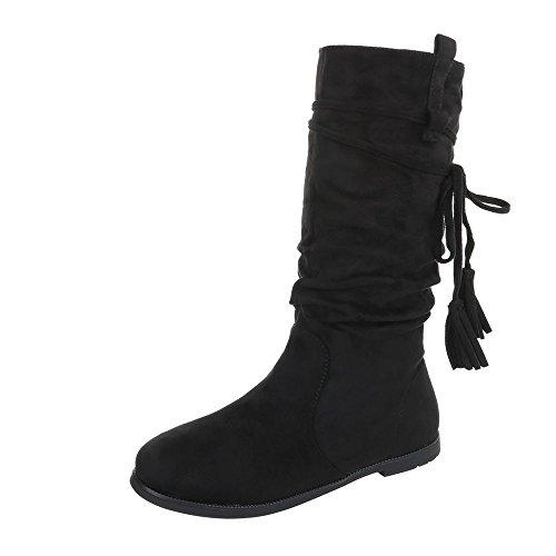 Stiefel & Boots Kinder-Schuhe Klassischer Stiefel Blockabsatz Mädchen Reißverschluss Ital-Design Stiefeletten Schwarz, Gr 36, 1389-1-
