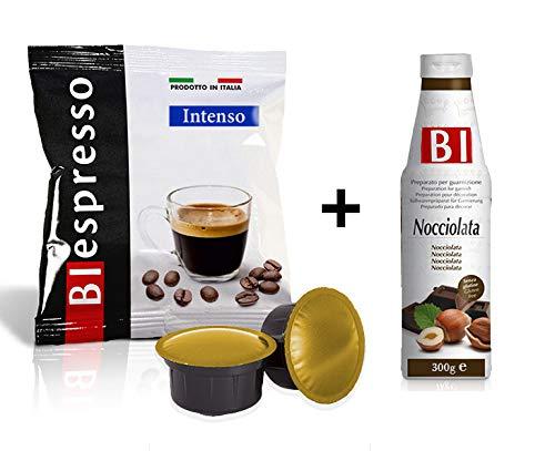 Biespresso, capsule compatibili con sistema caffitaly, caffè dall'aroma intenso, 400 pezzi, produzione italiana, in omaggio topping al gusto nocciolata