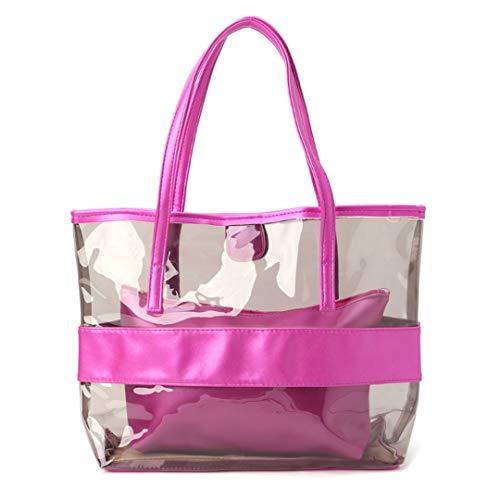 Frauen Transparent ping Taschen Jelly Clear Beach Handtasche Tote Schultertasche Hot pink -
