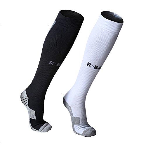 Fußball Socken für Männer Frauen lange Laufsport Compression Sock dicke Jungen Cushioned Stützsocken Baumwolle Kniehohe Breathable Soccer Hockey Rohr Tranning Socken 2 Paar Multipack (schwarz / weiß)