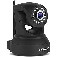 ieGeek Cámara IP, 720P HD visión nocturna cámara de seguridad,dos modos de audio,detección de movimiento,camara de vigilancia para vivienda,Soporta 64G Tarjeta SD y ONVIF,Negro
