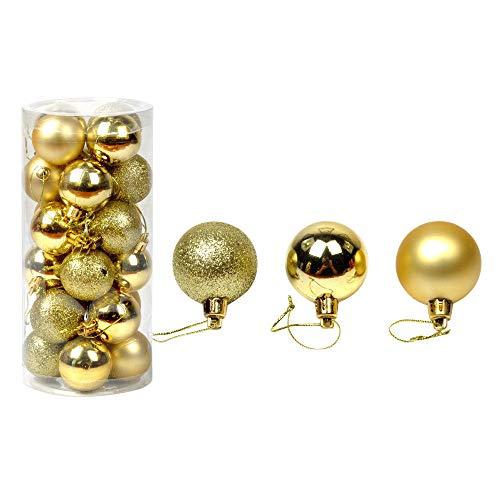 ODJOY-FAN 30 mm Weihnachtsbaum Dekorativer Ball Funkeln Kugeln Bälle Ornament Dekor Weihnachten Baum Ball Flitter Hängend Zuhause Party Ornament Dekor Wohnaccessoires (Gold,1 PC)