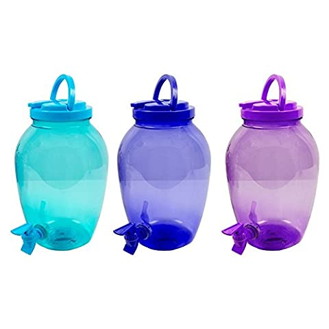 Invero® 3x Set of 4L Plastic Screw Top Drink Beverage Serving Dispenser Jar with Tap and Handle ideal for Summer, Picnics, Travels, BBQ's, Parties and