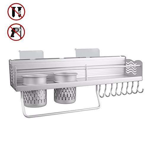 Joyfamy No Drilling Kitchen Shelves Knife Slots with 2 Cups Holder, Aluminum Wall Mounted Kitchen Storage Spice Rack with 8 Hanger Hooks