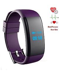 iRapid fréquence cardiaque sang oxygène pression moniteur montre bracelet Bluetooth Sports Smart Watch IP67 étanche Bracelet pour IOS,Android système Smart phones (Purple)