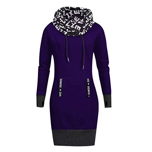 Hoodie Sweatshirt Dasongff Damen Frauen Kapuzenpullover mit Hohem Kragen Feste Sweatshirt Pullover...