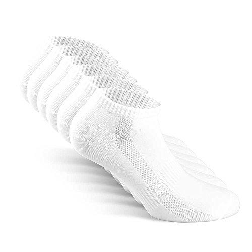Snocks Sneaker Socken Herren Weiß Größe 43-46 Gr 43 44 45 46 Weiße Männer Füßlinge Kurze Sneakersocken Weisse Sommersocken Weiss Füsslinge Baumwolle Sneakers Kurz Halbsocken Invisible Socks Unsichtbar