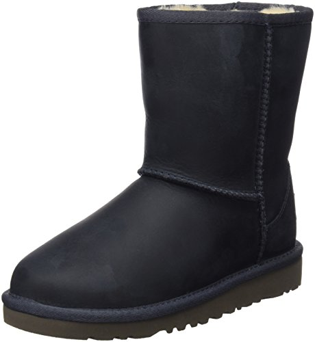 UGG Classic Short Leather, Unisex-Kinder Kurzschaft Stiefel, Blau (Peacoat), 31 EU
