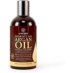 Champú de aceite de argán marroquí con fórmula restaurativa, 250 ml. Suave y sin parabenos para todo tipo de cabello. Limpia, revitaliza, hidrata, desenreda el cabello y revitaliza el cuero cabelludo y las puntas abiertas para hombres y mujeres.