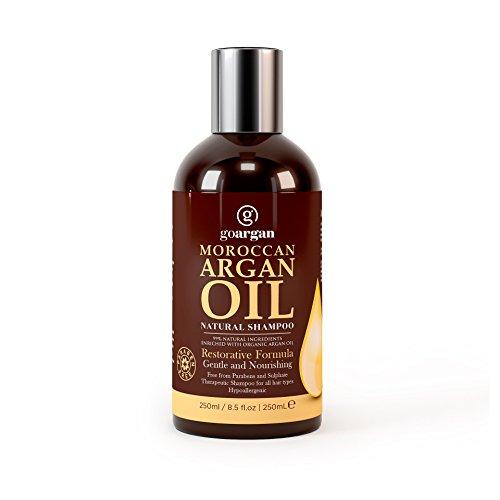 Marokkanisches Arganöl-Shampoo mit stärkender Formel, 250ml Sanft und ohne Parabene, für alle Haartypen. Reinigt, belebt, spendet Feuchtigkeit, entwirrt das Haar und revitalisiert die Kopfhaut; Spliss wird vorgebeugt. Für Männer und Frauen.