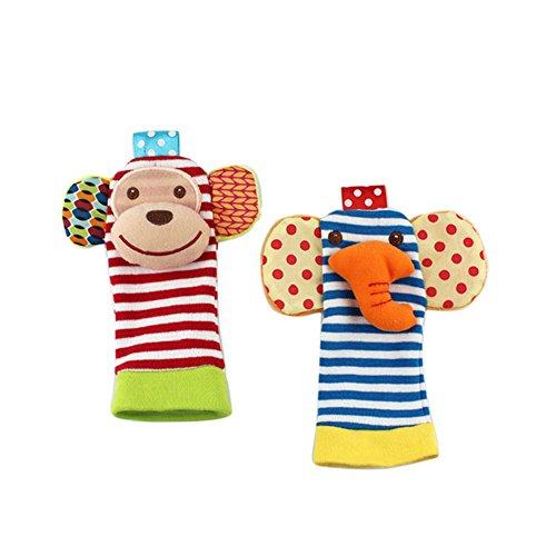 Hemore Tierische Baby-Kleinkind-Wrists Rattle und Socken-fußfinder setzen Entwicklung weiches Spielzeug (AFFE + Elefanten Socken) 1pair (Socke Affe-baby-puppe)