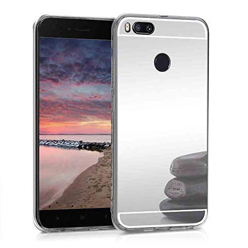 XCYYOO Funda Espejo para Xiaomi Mi 5X/ A1, Protectora Movil Carcasa TPU Silicona Ultra-Fina Bumper Mirror Case, Goma Cubierta Cobertura Delgado Cover para Xiaomi Mi 5X/ A1(Plata)