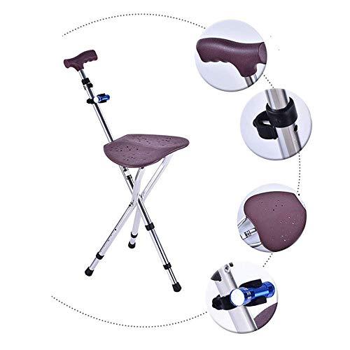 Stock-Stuhl-Justierbarer Faltender Gehstock-Stuhl-Tragbare Krückeen Drei-Fußrohrhocker Verwendbar Für Gebrauch Durch Die Älteren Personen (Mit Sitz)