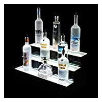 Three Tier LED RGB Bottle Display Stand for Displaying Spirits, Liquor, Beer, Wine, Cider and More