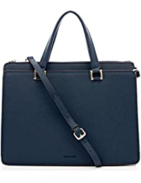BOVARI sac à main sac porté épaule Victoria - cuir de veau à imprimé saffiano - 39x29x13cm - bleu / indigo blue