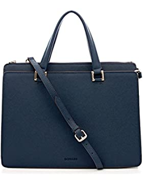 Bovari Victoria Bag Handtasche Schultertasche Umhängetasche (39x29x13 cm) – Saffiano Leder – blau /blue /bleu