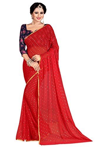 Febo Fashion Women's Nazneen Red Colour Plain Sari