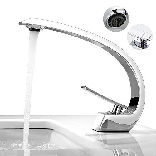 BONADE Waschbecken Wasserhahn Bad Armatur Chrom Mischbatterie Waschtischarmatur Badarmatur Einhandmischer Waschtischmischer Armaturen Badezimmer Waschbeckenamatur