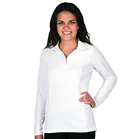 Nozone Tuscany Long Sleeved UPF 50+ Women's Equestrian Shirt in White, X-Small
