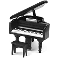 1:12 Dollhouse Piano de Madera en Miniatura de Color Negro