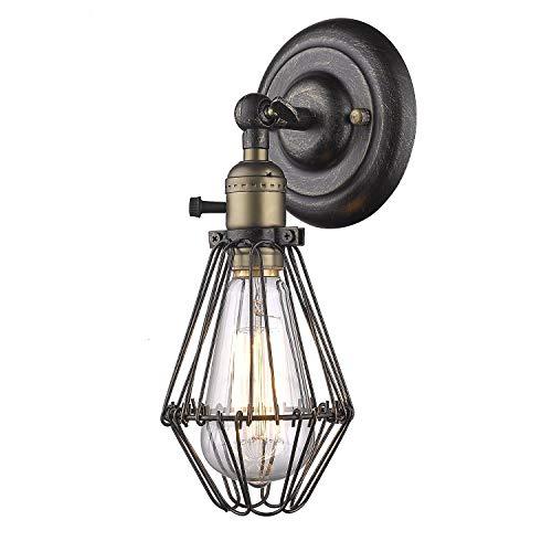 Wandleuchte Vintage Anlage Eisen Vintage auf aus Käfig Stil für Edison E27 Nostalgie Glühlampe (Anlage-wandleuchte)