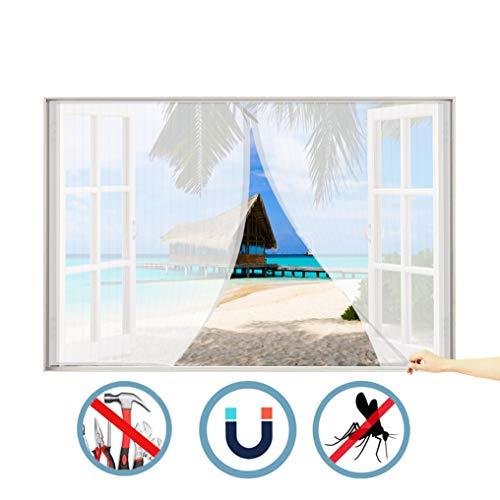 WISKEO Magnet Fliegengitter Fenster Ohne Rahmen Verschiedene Größen Fenstervorhang Ohne Bohren Anti-Moskito Insektenschutzgitter Rahmen Punch-Free Dach Schiebe Tür - Weiß 100x110 cm(WxH) - 110 Punch