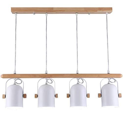 EYLM Holz Pendelleuchte Esszimmer Hängelampe Schmiedeeisen Deckenlampe aus Holz und Eisen Für Bartheke mit 4 LED Flammig, Länge 63CM, Weiß