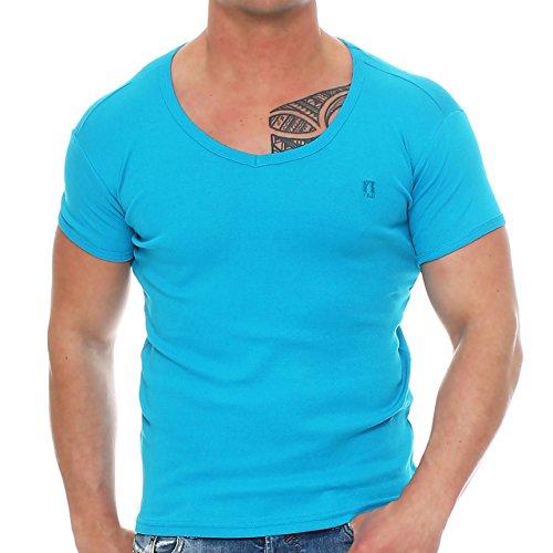 Young & Rich Herren V-Neck T-Shirt V-Ausschnitt Shirt Deep Tiefer V-Neck Hellblau