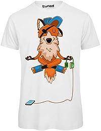 T-Shirt Divertente Uomo Maglietta con Stampa Ironica Animali Volpe Fox Pod  Tuned ac53b4e4f561