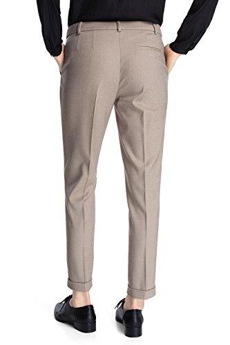ESPRIT Collection - melange twill, Pantaloni a pieghe da donna beige (Beige  (Cone Beige))