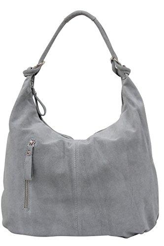 AMBRA Moda Damen Wildleder Schultertasch Damen Handtasche Hobo-Bags Shopper Beuteltaschen Veloursleder Suede Ledertasche DIN-A4 42cm x 35cmx 4cm WL803 (Grau groß)