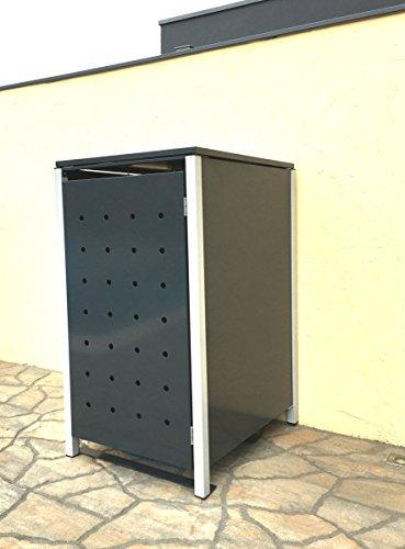 BBT@ | Hochwertige Mülltonnenbox für 1 Tonne mit 120 Liter mit Klappdeckel in Silber / Aus stabilem pulver-beschichtetem Metall / Stanzung 4 / In verschiedenen Farben sowie mit unterschiedlichen Blech-Stanzungen erhältlich / Mülltonnenverkleidung Müllboxen Müllcontainer - 5