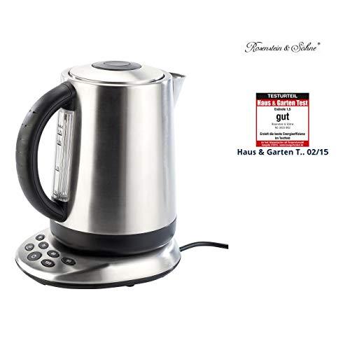 Rosenstein & Söhne Wasserkocher Thermostate: Premium-Wasserkocher WSK-300.tmp mit Temperaturwahl (Elektronischer Wasserkocher)