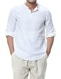 Najia Symbol Herren 3 4 Ärmel Slim Fit Kragenloses 100% Leinenhemd Henley  Shirt 338 ffa3388ebf