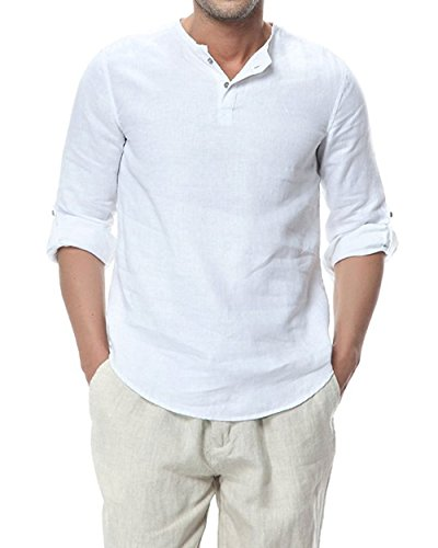 Najia symbol camicia uomo 100% lino senza colletto maniche 3/4 slim fit coreana (bianca, xxl / it 54-56)