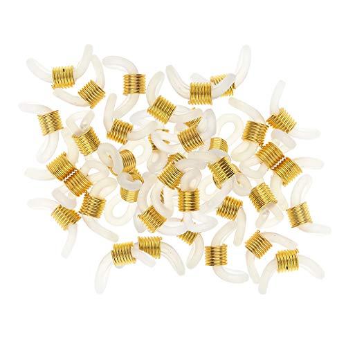 Baoblaze 50 Stücke Gummi Enden Für Brillenband Kordel Brillenschnalle Brillenketten für Damen Kinder Brillen Seil - Gold