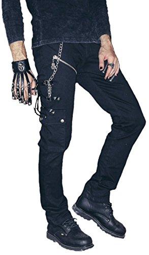 Biker Pantalones Vaqueros con Piel Hebillas Gótico Punk Rave Negro con Remaches Negro XXL
