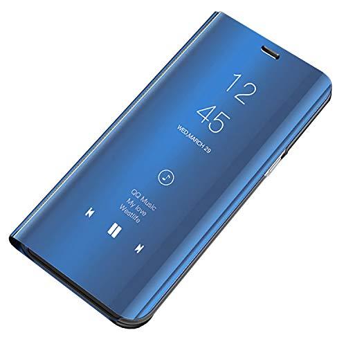 Bakicey iPhone Xr Leder Hülle, iPhone Xr Handyhülle Spiegel Schutzhülle Flip Tasche Case Cover für iPhone Xr, Stand Feature handyhuelle etui Bumper Hülle für Apple iPhone Xr(Blau) Apple Spiegel
