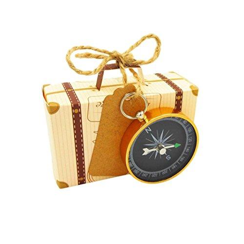 Y56 20PC Wedding Hochzeit Gunst Souvenir Koffer Süßigkeiten Geschenke Boxen Pralinenschachtel mit Kompass Reisen Empfang Dekor